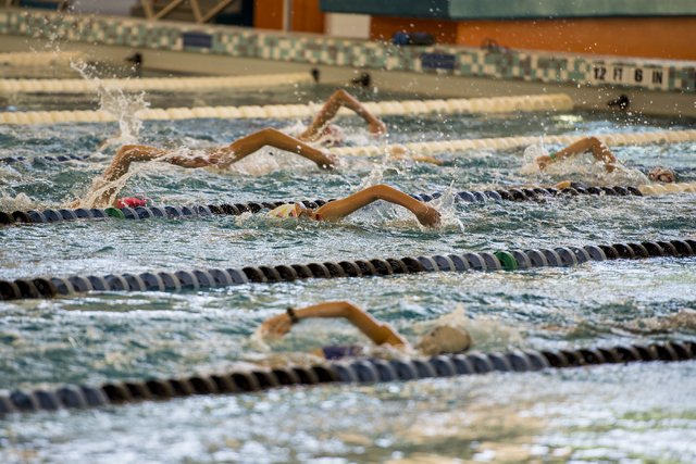 Swimmers swim laps during team practice at the Heritage Park Aquatic Complex, 310 S. Racetrack Rd., in Henderson on Thursday, June 11, 2015. (Joshua Dahl/Las Vegas Review-Journal)