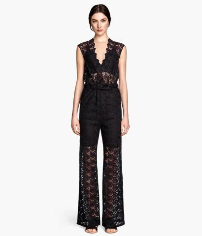 Black lace jumpsuit.