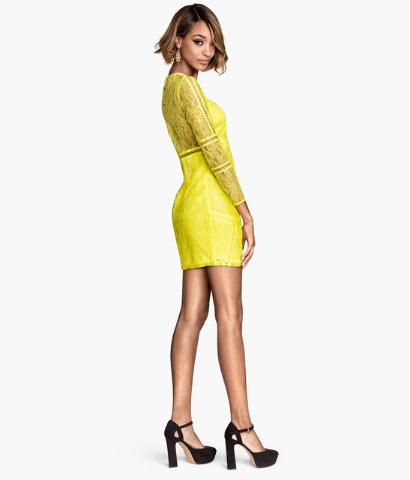 Neon yellow lace dress.