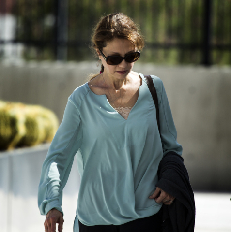 Edith Gillespie, half-sister of  former construction company boss Leon Benzer,  arrives for a  hearing at Lloyd George Federal Courthouse 333 South Las Vegas Boulevard on Monday, June 15, 2015. Sh ...