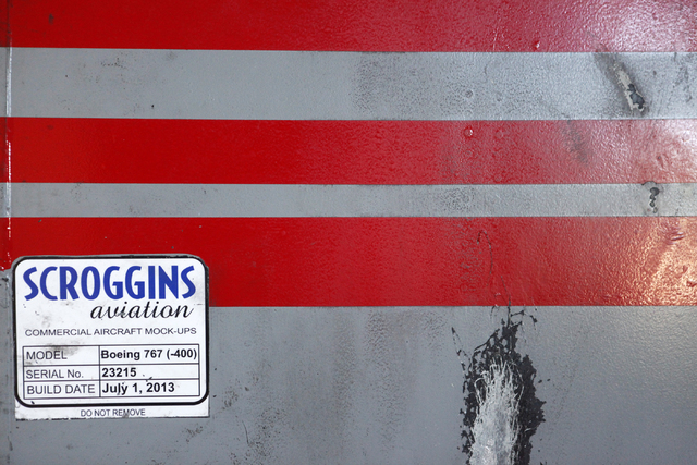 "The side of a Boeing 767 is seen at Scroggins Aviation on Wednesday, June 17, 2015, in Las Vegas. Scroggins Aviation supplies helicopters for movies such as ""Jurassic World."" (James Tensuan/Las Ve ..."
