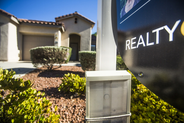 An existing home for sale in Summerlin as on Tuesday, July 22, 2014. National sales of previously owned homes rose for a third straight month in June, pushing  seasonally adjusted pace of 5.04 mil ...