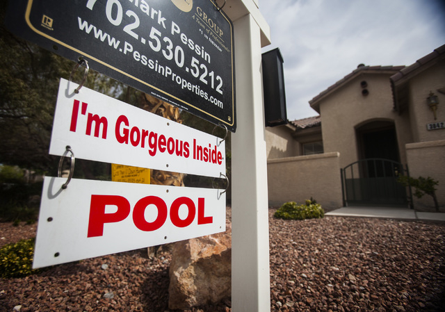A 16-year-old home for sale at the Willows in Summerlin on Saturday, March 29, 2014. Home Builders Research reported Tuesday that builders across the Las Vegas Valley closed on 433 new homes in Fe ...