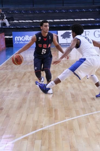 Findlay Prep guard Markus Howard (5) averaged 15.0 points, 2.0 assists and 2.0 steals in five games with the USA basketball U16 team that won a gold medal over the weekend in Bahia Blanca, Argenti ...