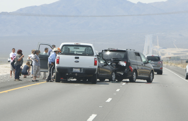 A five-vehicle crash near the Nevada/California border is causing southbound traffic delays on Interstate 15. (Bizuayehu Tesfaye/Las Vegas Review-Journal)