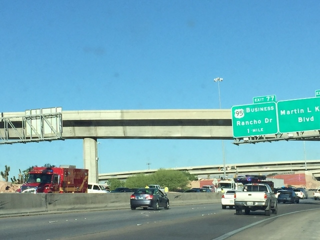 A crash on U.S. Highway 95 near the Casino Center Drive exit is causing traffic delays Wednesday morning, June 17, 2015. (Chase Stevens/Las Vegas Review-Journal)
