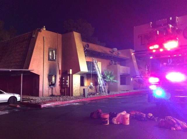 A fire at Sundance Village Apartments, 6500 Charleston Blvd., damaged two apartments and displaced five residents early Wednesday morning, June 17, 2015. (Courtesy/Las Vegas Fire Department)