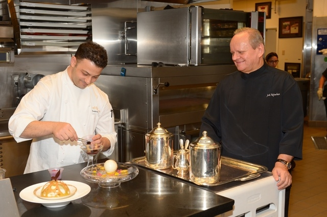 In the kitchen with Joёl Robuchon, at Joёl Robuchon in Las Vegas' MGM hotel. (Courtesy, Bryan Steffy)