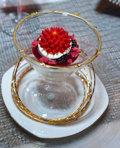 Raspberry Dome on Mascarpone with Red Fruit Coulis and Calpico Jelly at Joel Robuchon. (Courtesy, Bryan Steffy)
