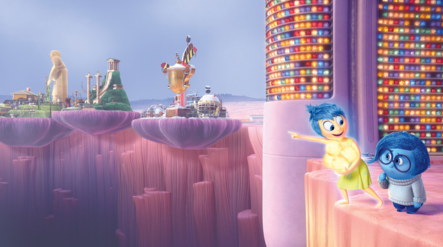 """Joy (voice of Amy Poehler) and Sadness (voice of Phyllis Smith) must venture through Long Term Memory to find their way back to Headquarters in Disney Pixar's """"Inside Out"""" — in theaters Ju ..."""