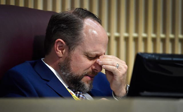 Henderson City Attorney Josh Reid gestures during the Henderson City Council meeting at Henderson City Hall on Tuesday, June 16, 2015. (David Becker/Las Vegas Review-Journal)