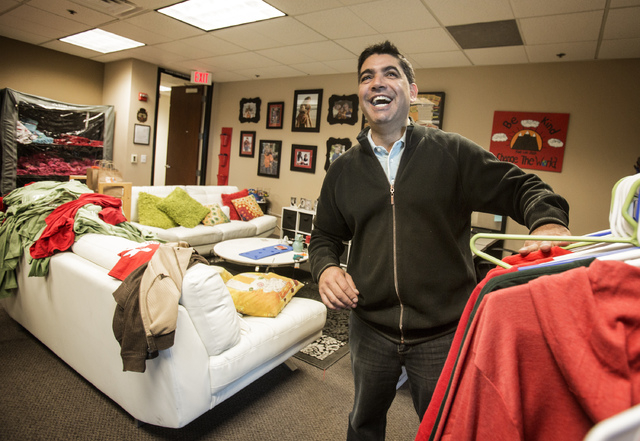 Crazy pita owner Mehdi Zarhloul stands in the Josh Stevens Foundation office at 901 Green Valley Parkway in Henderson Dec. 6, 2013. Zarhloul was close to Josh Stevens, a seventh-grader who died in ...