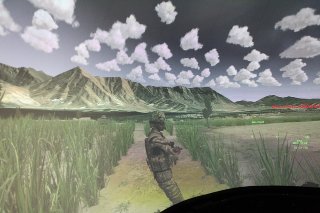The inside of an Advanced Air National Guard JTAC Training Simulator is seen at Nellis Air Force Base in Las Vegas during a tour Monday, June 8, 2015. (Erik Verduzco/Las Vegas Review-Journal) Foll ...