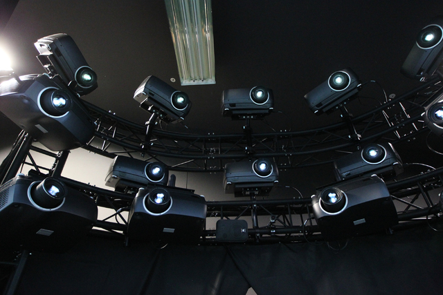Video projectors cast images for an Advanced Air National Guard JTAC Training Simulator at Nellis Air Force Base in Las Vegas Monday, June 8, 2015. (Erik Verduzco/Las Vegas Review-Journal) Follow  ...