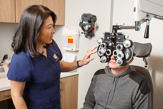 ​Dr. Eva Liang, ophthalmologist at Center For Sight, checks the eyesight of a Las Vegas patient Jan. 4, 2015. Liang is one of the ophthalmologists who is being certified to perform the new Kamra ...
