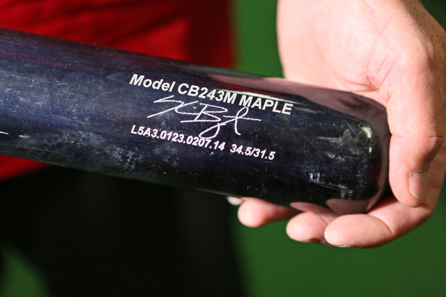 Mike Bryant, father of Chicago Cubs third baseman Kris Bryant, holds his son's bat Friday, June 5, 2015, in Las Vegas. Bryant is a local hitting instructor and played Double A for the Boston Red S ...