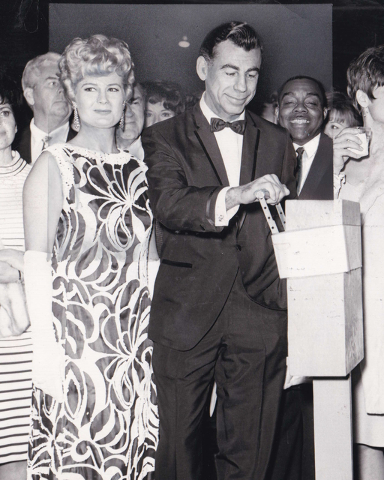 Kirk Kerkorian and his second wife, Jean-Marie Harbour-Hardee, are on hand to throw the switch on the fireworks show in this undated photo as his company breaks ground on the $50 million Internati ...