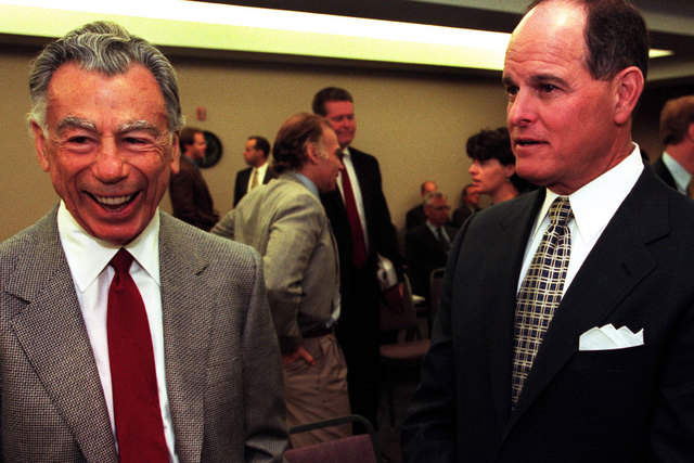 MGM Resorts' founder and largest shareholder Kirk Kerkorian, left, and then-MGM chairman and chief executive officer Terry Lanni are shown on May 30, 2000. Kerkorian at 98 on died June 15, 2015. L ...