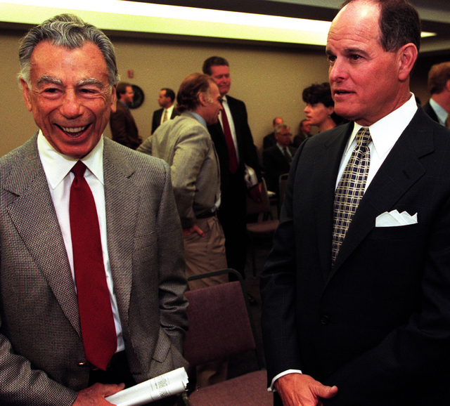 MGM Resorts' founder and largest shareholder Kirk Kerkorian, left, and then-MGM chairman and chief executive officer Terry Lanni are shown in this May 30, 2000, file photo. Lanni died in July, 201 ...