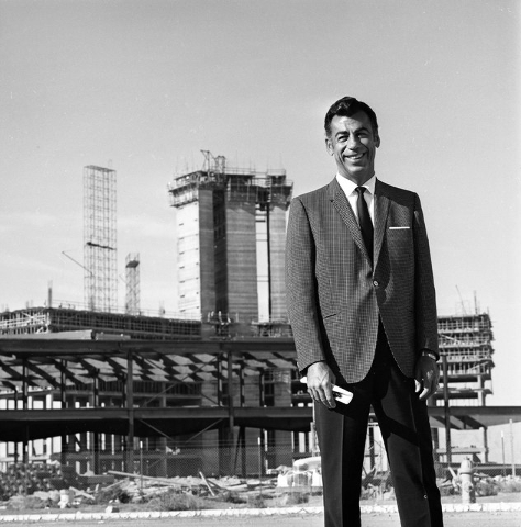 Kirk Kerkorian stands with the construction of the International Hotel in the background, Oct. 21, 1968. (Courtesy/Las Vegas News Bureau/Don English)