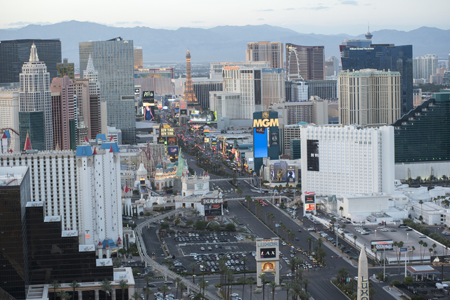 The Las Vegas Strip seen from the Foundation Room at the top of the Mandalay Bay hotel-casino in Las Vegas on Wednesday, May 27, 2015. (Martin S. Fuentes/Las Vegas Review-Journal)
