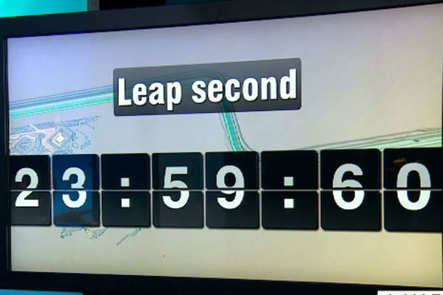 "A ""leap second"" is being added to the world's clocks at midnight GMT on Tuesday. (Screengrab/CNN)"