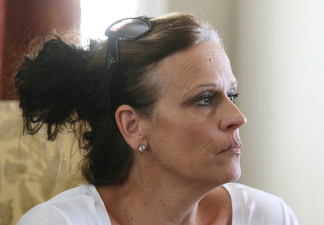 Betty Johnson attends a small community gathering in the Berkabile home Wednesday, May 27, 2015, in Las Vegas. The neighbors came together to discuss their opposition to Shiron Development LLC's p ...