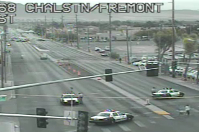 A motorcyclist was critically injured early Tuesday morning near Charleston Boulevard and Fremont Street, Las Vegas police. (Courtesy RTC Fast Cams)