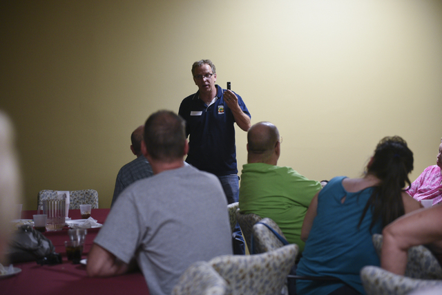 Bob Diamant, Shaolin Kempo instructor with United Studios of Self Defense and guest presenter, discusses pepper spray use at the monthly multiple sclerosis support group at HealthSouth Rehabilitat ...