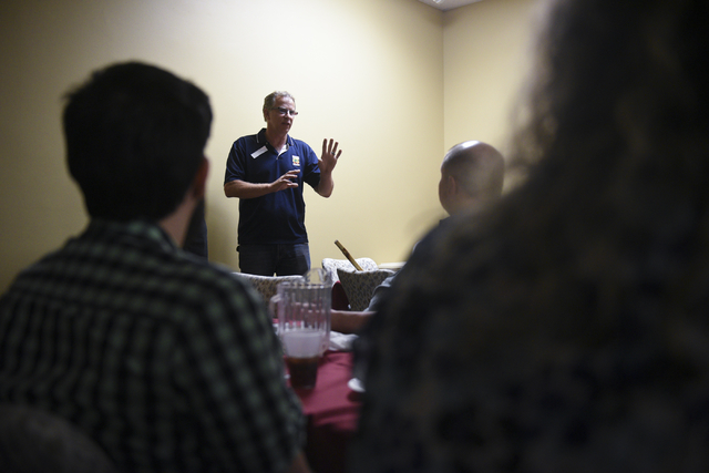 Bob Diamant, Shaolin Kempo instructor with United Studios of Self Defense and guest presenter, demonstrates self defense techniques at the monthly multiple sclerosis support group at HealthSouth R ...