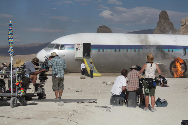 "Mockup aircraft from Las Vegas-based Scroggins Aviation is shown during the company's first job in 2010 on the NBC show ""The Event.""  (Courtesy/Scroggins Aviation)"