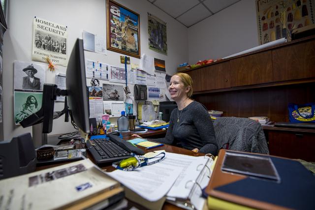 Kish LaPierre works in her office on Nellis Air Force Base in Las Vegas on Wednesday, June 24, 2015. (Joshua Dahl/Las Vegas Review-Journal)
