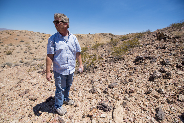 Jeff Kirkwood, a geologist, searches for artifacts on Nellis Air Force Base in Las Vegas on Wednesday, June 24, 2015. (Joshua Dahl/Las Vegas Review-Journal)