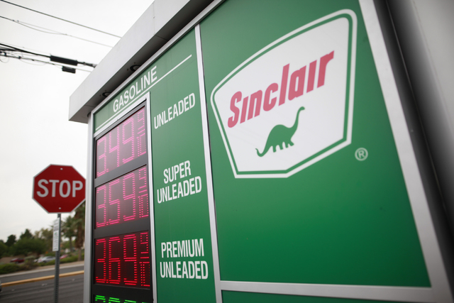 Gas prices are displayed at a Sinclair gas station at Warm Springs Road and Gillespie Street in Las Vegas on Tuesday, June 9, 2015. Nevada ranks fourth highest among U.S. gasoline prices, AAA said ...