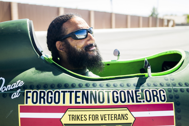 Peter Guidry, co-founder of  Forgotten Not Gone, sits in a tricycle on Monday, June 22, 2015. The nonprofit  provides trikes for veterans and their families to  reengage with society through exerc ...