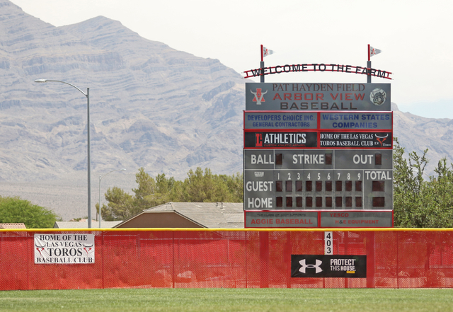 Pat Hayden Field, which was named for former principal Pat Hayden, is shown at Arbor View High School Wednesday, June 17, 2015, in Las Vegas. Hayden, who died during a 2013 triathlon at Lake Mead, ...