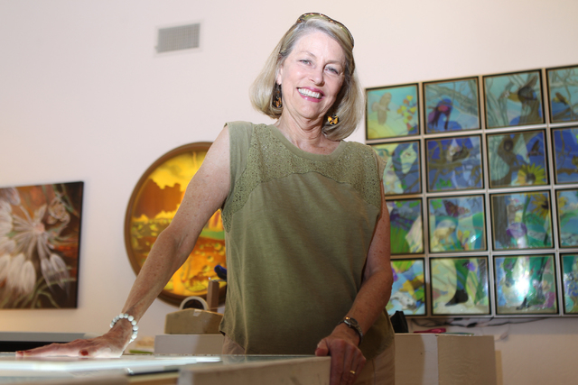 Austine Wood Comarow poses for a photo inside her studio in Las Vegas Monday, June 22, 2015. Comarow is internationally known for using polarized light collages to make art pieces. (Erik Verduzco/ ...