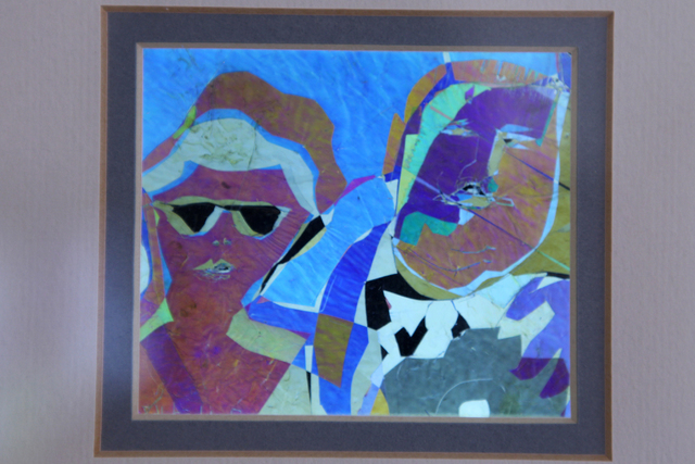 "An art piece titled ""The Tourists"" by Austine Wood Comarow is seen inside her studio in Las Vegas Monday, June 22, 2015. The piece was the first one Comarow created using a method known  ..."