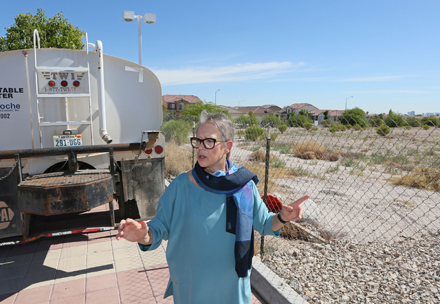 Cary Harned, senior grants and major gifts officer, stands near the future site of Sean's Park at Opportunity Village Ralph and Betty Engelstad Campus Wednesday, June 17, 2015, in Las Vegas. Sean' ...