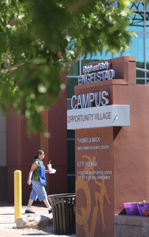 A sign for Opportunity Village Ralph and Betty Engelstad Campus is shown Wednesday, June 17, 2015, in Las Vegas. Sean's Park, a proposed life-learning park for children and adults with disabilitie ...