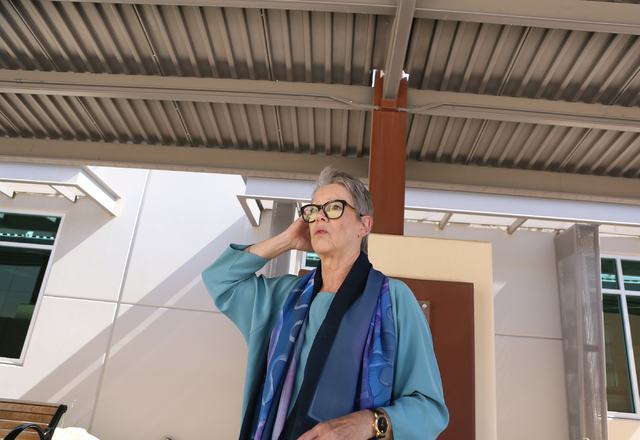 Cary Harned, senior grants and major gifts officer, speaks about Sean's Park during a tour at Opportunity Village Ralph and Betty Engelstad Campus Wednesday, June 17, 2015, in Las Vegas. Sean's Pa ...