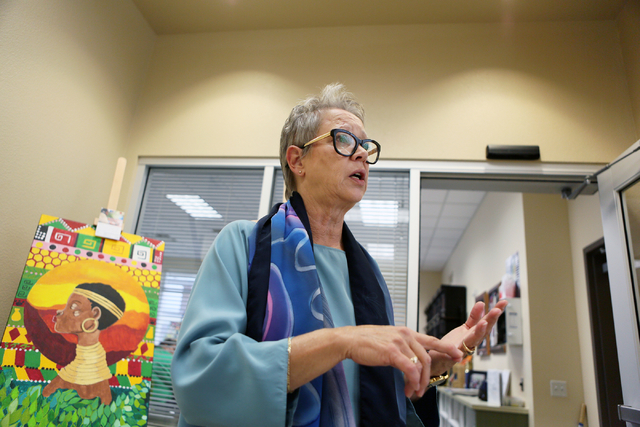 Cary Harned, senior grants and major gifts officer, talks about the programs at Opportunity Village Ralph and Betty Engelstad Campus Wednesday, June 17, 2015, in Las Vegas. Sean's Park, a proposed ...