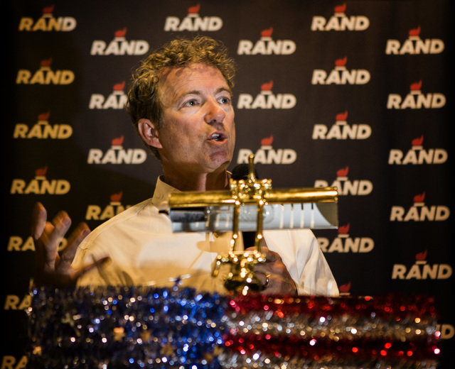 Republican presidential candidate Rand Paul speaks to supporters Monday, June 29, 2015 during a rally at the Eureka Casino in Mesquite. Follow Jeff Scheid on Twitter @jlscheid (Jeff Scheid/Las Veg ...
