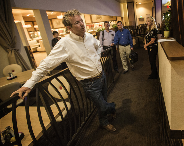 Republican presidential candidate Rand Paul waits to speak to supporters Monday, June 29, 2015 during a rally at the Eureka Casino in Mesquite. Follow Jeff Scheid on Twitter @jlscheid (Jeff Scheid ...