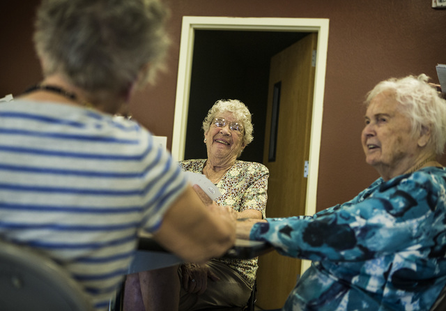Margaret Tate,left, Babe Snow and Frankie Sales  plays cards at the Mesquite Senior Center, 102 East Mill Road in Mesquite on Monday, June 29, 2015 Follow Jeff Scheid on Twitter @jlscheid (Jeff Sc ...