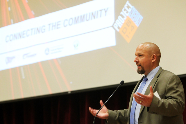 Cole Mortensen speaks to meeting attendees on Wednesday, June 10, 2015, in Las Vegas. A public meeting was held regarding the overhaul of the Spaghetti Bowl. (James Tensuan/Las Vegas-Review Journa ...