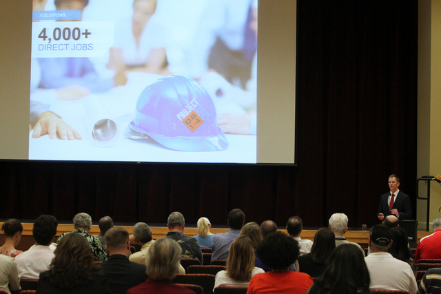 Project Manager Dale Keller speaks to meeting attendees on Wednesday, June 10, 2015, in Las Vegas. A public meeting was held regarding the overhaul of the Spaghetti Bowl. (James Tensuan/Las Vegas- ...