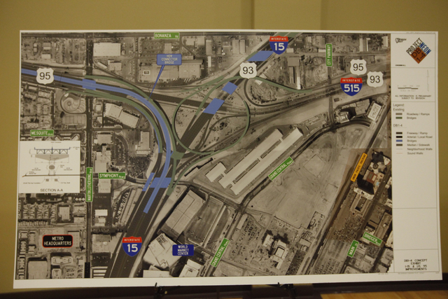Maps and diagrams for the overhaul of the Spaghetti Bowl are seen at a meeting on Wednesday, June 10, 2015, in Las Vegas. A public meeting was held regarding the overhaul of the Spaghetti Bowl. (J ...
