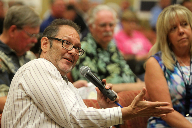 Greg Martin asks a question at a public meeting on Wednesday, June 10, 2015, in Las Vegas. A public meeting was held regarding the overhaul of the Spaghetti Bowl. (James Tensuan/Las Vegas-Review J ...