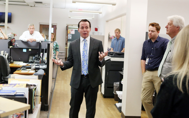 Jason Taylor speaks in the newsroom after being named President and Publisher of the Review-Journal and President of GateHouse Media's Western U.S. Publishing Operations on Thursday, June, 10, 201 ...